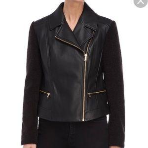 Cole Haan Motorcycle jacket vegan leather black